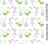 a seamless pattern with... | Shutterstock .eps vector #1151934743