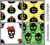 seamless patterns set with... | Shutterstock .eps vector #1151938589