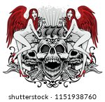 gothic sign with skulls and... | Shutterstock .eps vector #1151938760