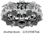 gothic sign with skulls  grunge ... | Shutterstock .eps vector #1151938766