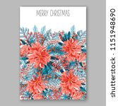 red poinsettia merry christmas... | Shutterstock .eps vector #1151948690