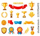 awards and trophy icons set.... | Shutterstock .eps vector #1151956493