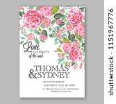 floral wedding invitation... | Shutterstock .eps vector #1151967776