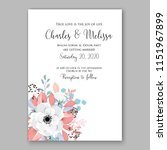 floral wedding invitation... | Shutterstock .eps vector #1151967899