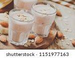 smoothie with banana  yogurt ... | Shutterstock . vector #1151977163