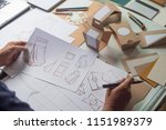 designer sketching drawing... | Shutterstock . vector #1151989379