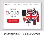 learn english online. landing... | Shutterstock .eps vector #1151990906