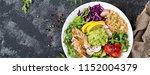 healthy dinner. buddha bowl... | Shutterstock . vector #1152004379