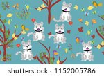 cute cat with little birds with ... | Shutterstock .eps vector #1152005786