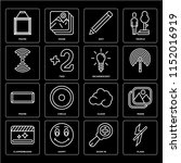 set of 16 icons such as flash ...