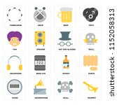 set of 16 icons such as trumpet ...