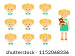 collection of girl emotions... | Shutterstock .eps vector #1152068336