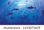 underwater sea or ocean... | Shutterstock .eps vector #1152072629
