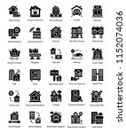 real estate glyph icons set  | Shutterstock .eps vector #1152074036