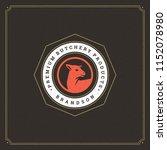 butcher shop logo vector... | Shutterstock .eps vector #1152078980