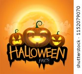 halloween party background with ... | Shutterstock .eps vector #1152079070