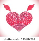 Ornament heart shape for your design,Valentine background with heart, vector - stock vector