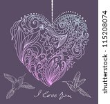 valentine card with floral heart and birds, illustration - stock photo