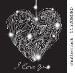 valentine card with floral black and white heart, illustration for romantic design - stock photo
