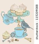 vintage morning tea background. ... | Shutterstock .eps vector #115209088