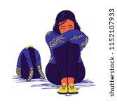 depressed sad girl sitting on... | Shutterstock .eps vector #1152107933