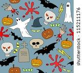 seamless pattern with halloween ... | Shutterstock .eps vector #115211176