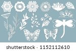 Stock vector set template for laser cutting and plotter flowers leaves dragonfly and butterfly for decoration 1152112610