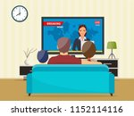 family with cat watching tv... | Shutterstock .eps vector #1152114116