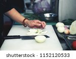 close up image of chef cutting... | Shutterstock . vector #1152120533