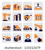 vector black construction icons ... | Shutterstock .eps vector #115212679