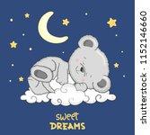cute teddy bear sleeping on the ... | Shutterstock .eps vector #1152146660