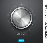Volume button (music knob) with metal texture (steel, chrome), scale and dark background.