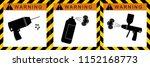 set warning aerosol spray ... | Shutterstock .eps vector #1152168773