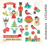 christmas retro icons  elements ... | Shutterstock .eps vector #115216900