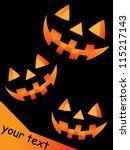 halloween pumpkin scary faces... | Shutterstock .eps vector #115217143