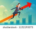 business man run and jump pass... | Shutterstock .eps vector #1152193373