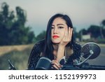young woman drive with... | Shutterstock . vector #1152199973