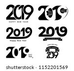 happy new year. set of 2019... | Shutterstock .eps vector #1152201569