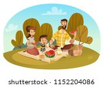 happy family on a picnic. dad ... | Shutterstock .eps vector #1152204086