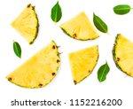 sliced pineapple and green... | Shutterstock . vector #1152216200