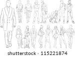 fashion people outline   vector ... | Shutterstock .eps vector #115221874