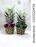 pineapple with sunglasses on... | Shutterstock . vector #1152222476