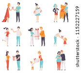 people giving and receiving... | Shutterstock .eps vector #1152227159
