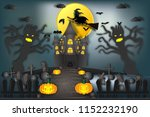 witch riding broom flying over...   Shutterstock .eps vector #1152232190