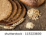 bread on wood table - stock photo