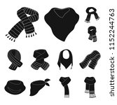 scarf and shawl black icons in... | Shutterstock . vector #1152244763