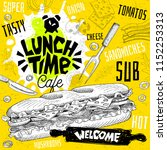 lunch time cafe restaurant menu.... | Shutterstock .eps vector #1152253313