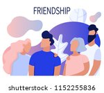 friendship. flat illustration.... | Shutterstock .eps vector #1152255836