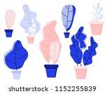 set plants  trees  leaves. flat ... | Shutterstock .eps vector #1152255839