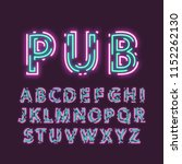 neon uppercase alphabet made of ... | Shutterstock .eps vector #1152262130